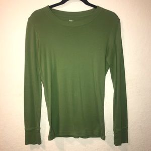 Gap Olive Green Color Long Sleeve T-Shirt